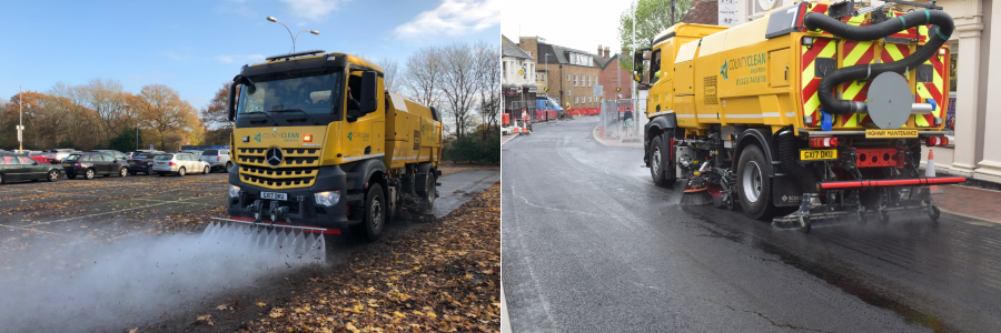 CountyClean Group Road Sweepers at Gatwick Airport and Hailsham High Street in Sussex