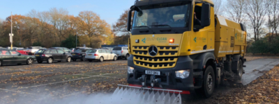 CountyClean Group road sweeper in car park at airport