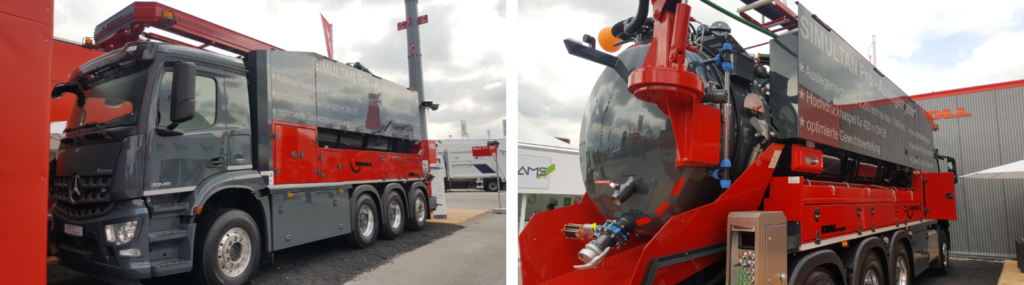 The eight wheeler combination suction pressure vehicle with integrated water recycling capability that was on display at the KROLL Fahrzeugbau- Umwelttechnik GmbH exhibition stand throughout the iFAT 2018.