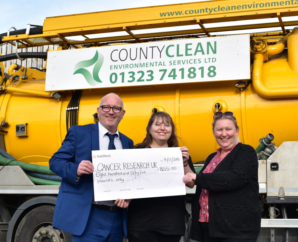 Mike Walker Amy Woods Debbie Walker CountyClean Group Cancer Research UK Cheque
